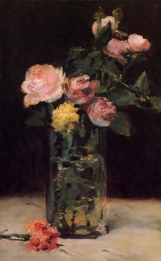 edouard manet roses in a glass vase painting