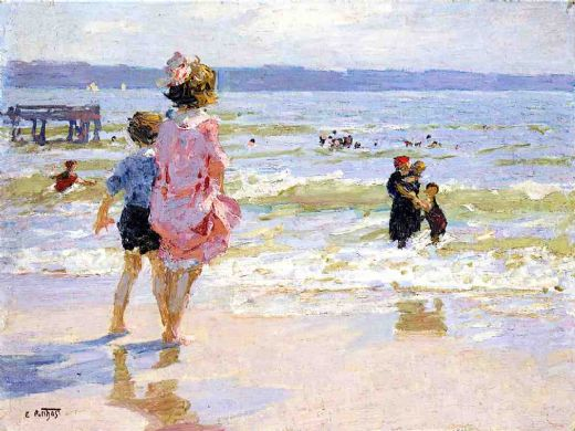 edward henry potthast at the seashore painting