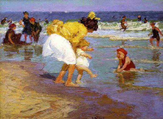 edward henry potthast at the seashore oil painting