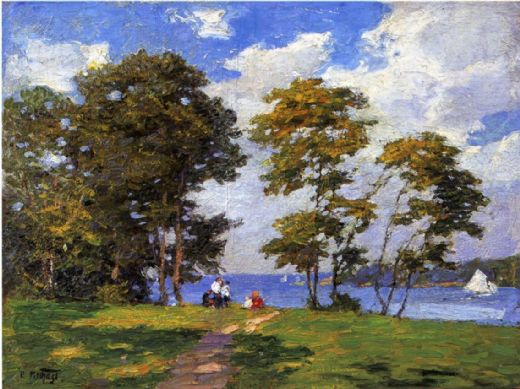 edward henry potthast landscape by the shore painting