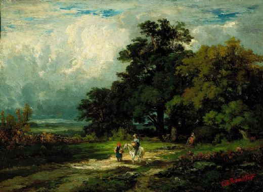 edward mitchell bannister man on horse with woman and dog paintings