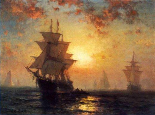 Edward Moran Ships At Night Painting Amp Edward Moran Ships