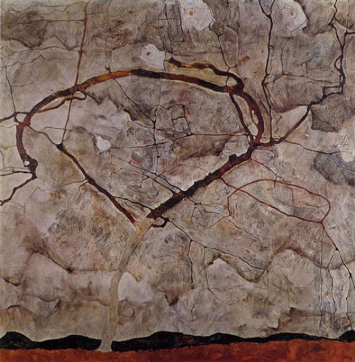 egon schiele autumn tree in movement paintings