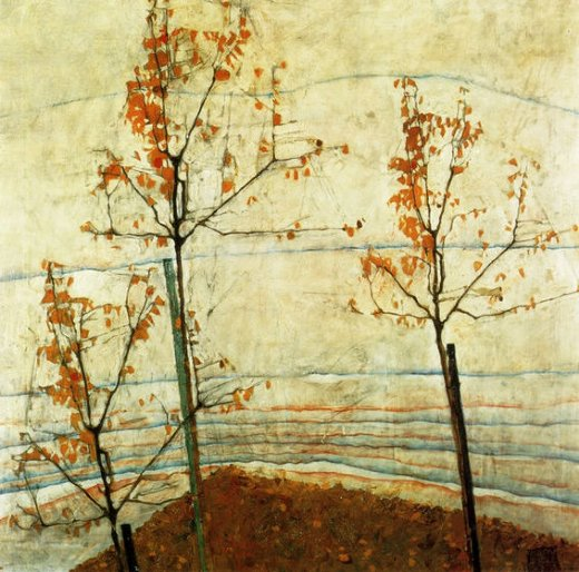 egon schiele autumn trees oil painting