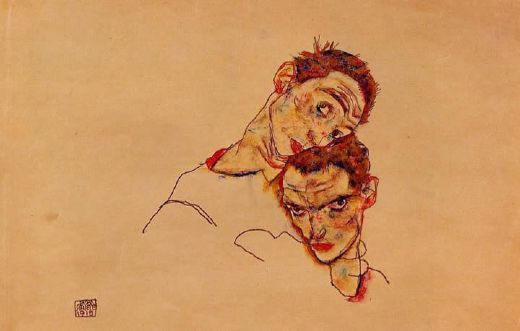 egon schiele double self portrait painting