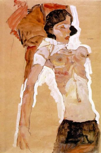 egon schiele semi nude reclining painting