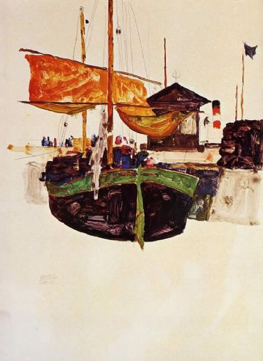 egon schiele ships at trieste painting