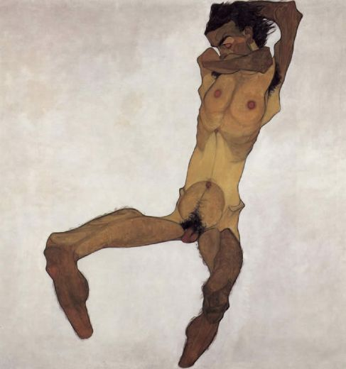 egon schiele sitting male act paintings