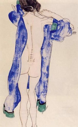 egon schiele standing female nude in a blue robe painting