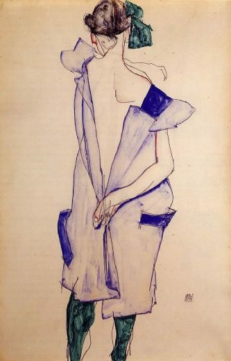 egon schiele standing girl in a blue dress and green stockings back view painting