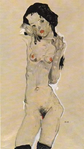 egon schiele standing nude young girl paintings