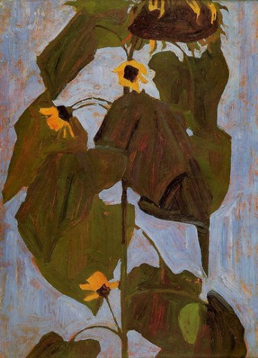 egon schiele sunflower i painting