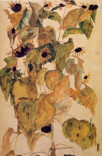 egon schiele sunflowers paintings