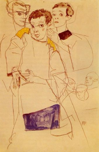 egon schiele triple self portrait paintings