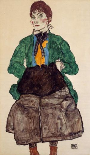 egon schiele woman in a green blouse and muff posters