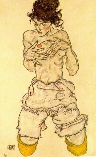 egon schiele woman touching her breast paintings