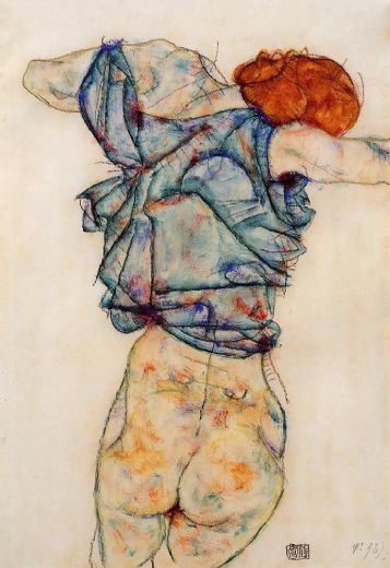 egon schiele woman undressing paintings
