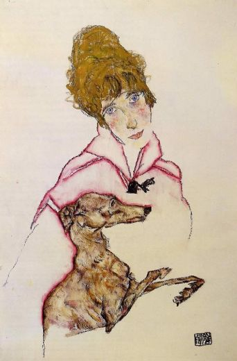 egon schiele woman with greyhound edith schiele painting
