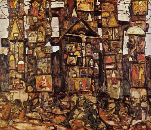 egon schiele woodland prayer painting