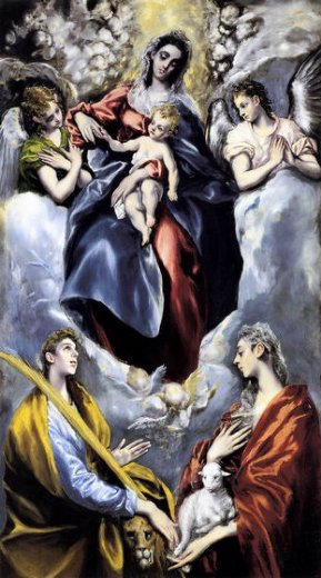 el greco the virgin and child with st martina and st agnes painting