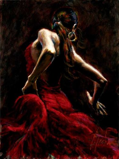 fabian perez dancer in red painting