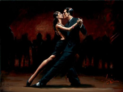 fabian perez tango in paris in black suit painting
