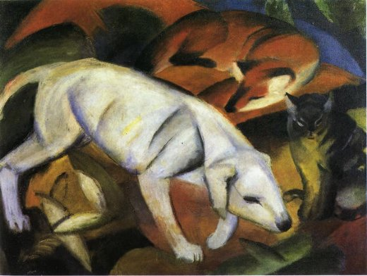franz marc three animals dog fox and cat painting
