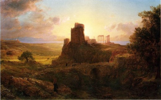 frederic edwin church the ruins at sunion greece paintings
