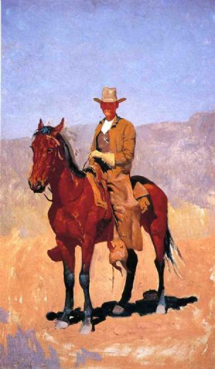 frederic remington mounted cowboy in chaps with race horse paintings