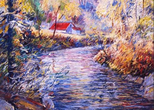 george gallo a bend in the stream painting