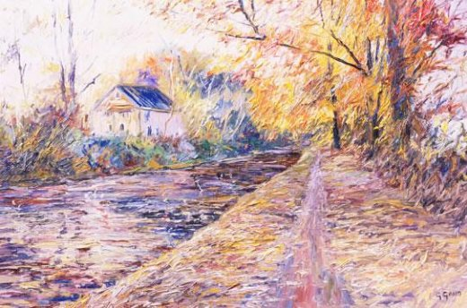 george gallo the towpath in autumn paintings