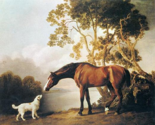 george stubbs bay horse and white dog paintings