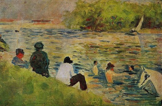 georges seurat the bank of the seine painting