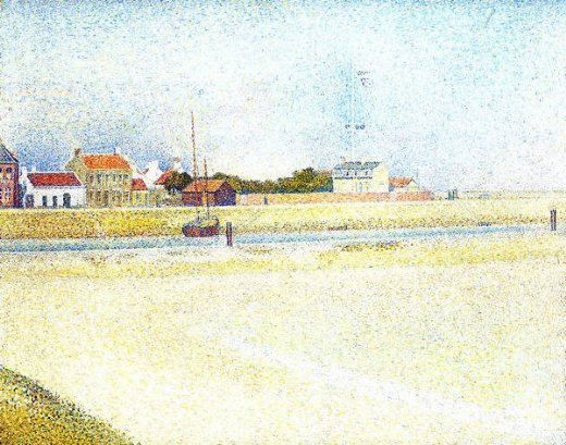 georges seurat the channel at gravelins grand painting