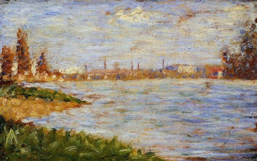 georges seurat the riverbanks oil painting