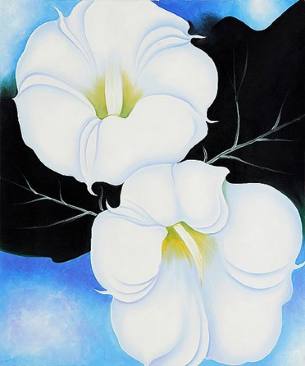 georgia o keeffe two jimson weeds with green leaves and blue sky painting