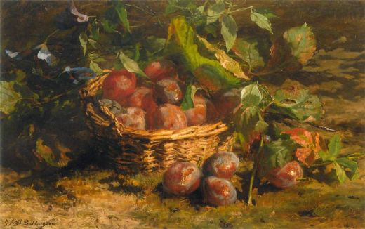 geraldine jacoba van de sande bakhuyzen still life with plums in a basket paintings