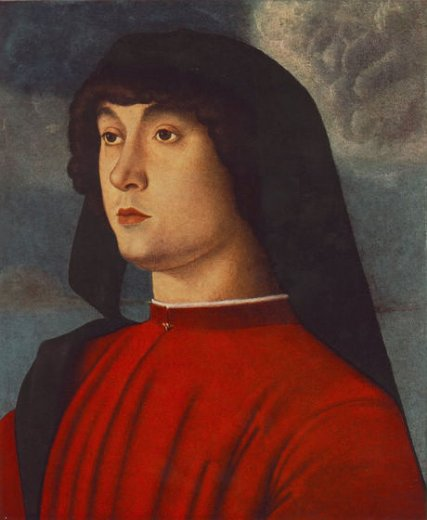 giovanni bellini portrait of a young man in red painting