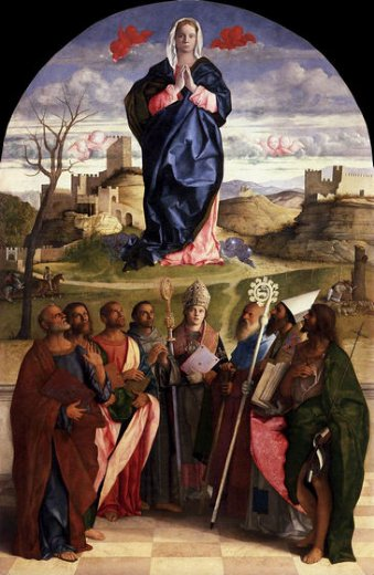 giovanni bellini virgin in glory with saints painting