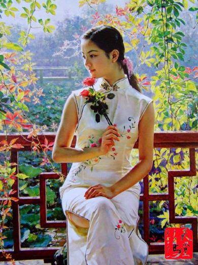 guan zeju spring beauty painting