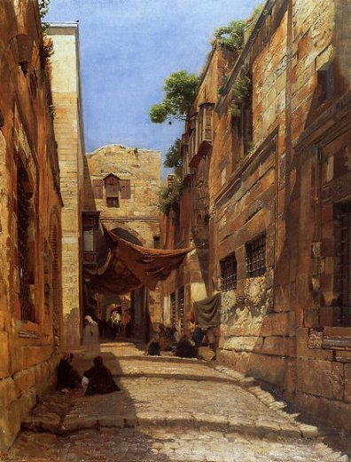 gustav bauernfeind david street in jerusalem paintings