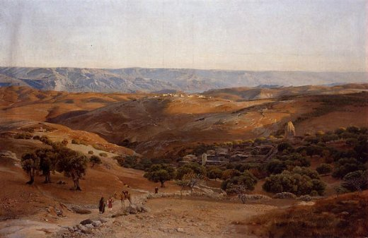 gustav bauernfeind mountains of moab seen from bethany painting