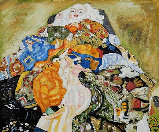gustav klimt baby cradle oil painting