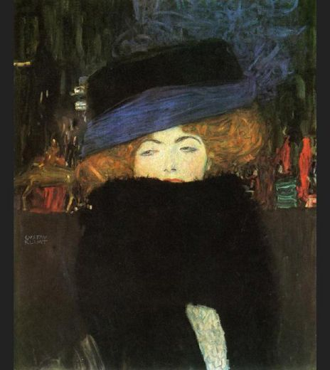 Gustav klimt lady with hat and feather boa painting for Gustav klimt original paintings for sale