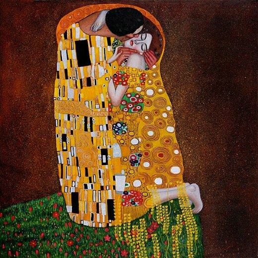 Gustav Klimt The Kiss Full View Painting Gustav Klimt The Kiss