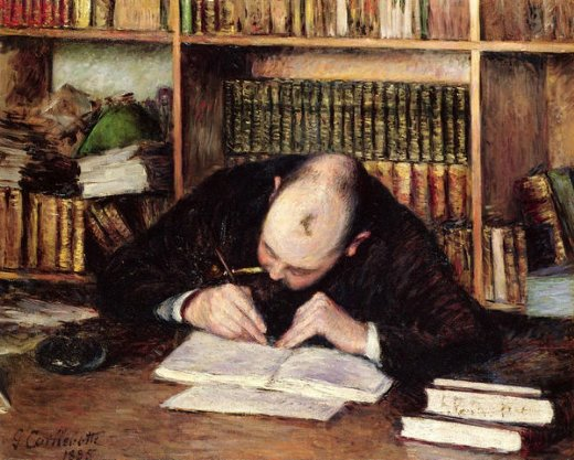 gustave caillebotte portrait of a man writing in his study painting