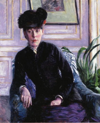 gustave caillebotte portrait of a young woman in an interior painting