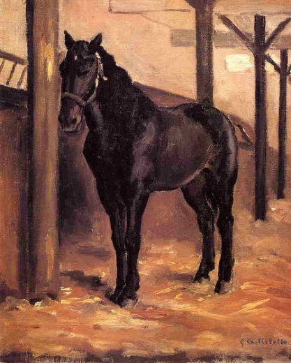 gustave caillebotte yerres dark bay horse in the stable paintings