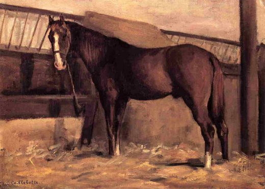 gustave caillebotte yerres reddish bay horse in the stable paintings