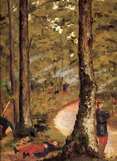 gustave caillebotte yerres soldiers in the woods painting